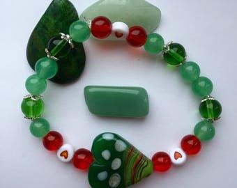 Malaysian jade bracelet, valentines day, gemstone bracelet, heart bracelet, glass beaded bracelet, lampwork bracelet.