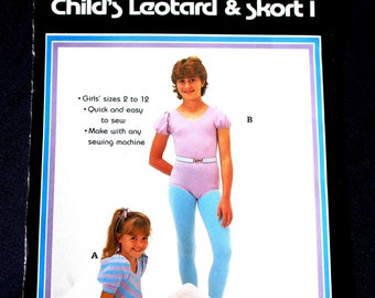 Leotard Skort Bodysuit Patch Press Sewing Pattern 504D Child Girls Size 2 4 6 8 10 12 Activewear Dance Gymnastics Costume Uncut Vintage 80s