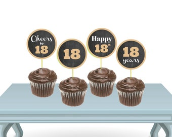 18th Birthday Cupcake Toppers, DIY Cupcake Topper, 18th Birthday Decorations PRINTABLE, Cupcake Toppers Girl Birthday, Gold Cupcake Toppers