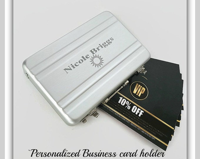 Engraved card holders eternityengraving personalized business card holder mini briefcase engraved business card case personalized gift for him colourmoves