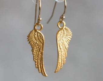 Angel Wings Earrings, Gold Earrings, Girlfriend Gift for Her, Drop Earrings, Dangle Earrings, Guardian Angel Jewelry, Simple Earrings