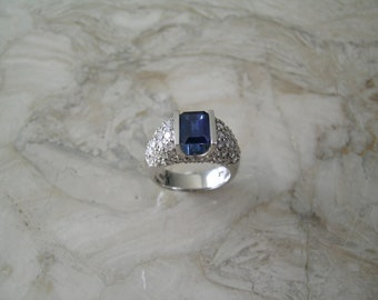 Vintage Natural Sapphire and Diamond Ring 14K White Gold Circa 1970