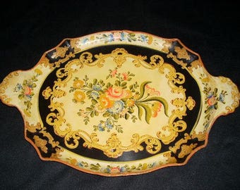 """Large Oval Papier Mache Serving Tray - Made in Japan - 18"""" Long"""