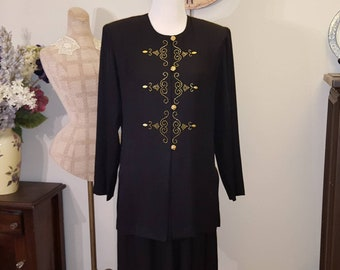 Vintage Pant Suit/ Black Pant Suit/Black Pant Suit with Gold Embellishment/ Vintage Black Pant Suit Size 10