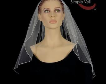 Shoulder Length Bridal Veil, Pencil Edge, Simple Veil
