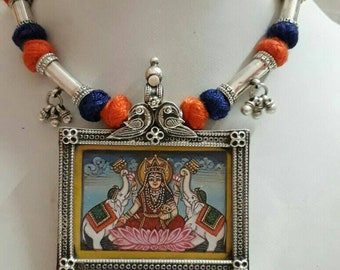 Handmade 92.5 Sterling Silver Hand Painted Miniature Painting  Hindu Goddess of Prosperity and Happiness Maa Lakshmi Glass Framed Necklace