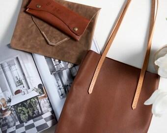 Mittleres Ledertasche / / von Hand genäht, weichen Leder-Tasche