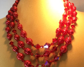 Gorgeous Vintage Red Necklace