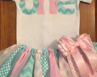 Pink and blue birthday tutu outfit