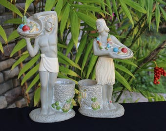 On Sale!! Vintage HAWAIIAN Hula ART DECO Statues 1942
