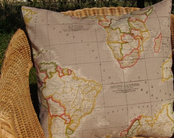 world map pillow cover - natural map pillow - 18 inch pillow cover - natural pillow - map cushion cover