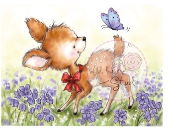 Wild Rose Studio Bluebell and Butterfly new clear stamp