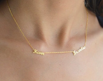 Gold Two Name Necklace ~ Personalized Two Name Necklace - Personalized Two Name Necklace - Dainty Name Necklace - Children Names Necklace
