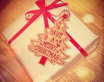 Wrapping service with hand written tag.
