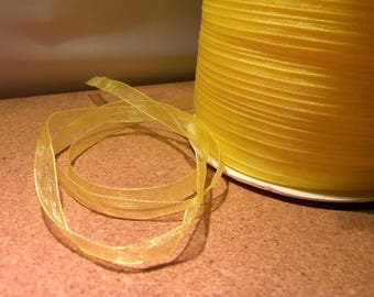 10 meter of 6 mm - OR1 - bright yellow organza Ribbon