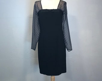 Ann Taylor 80s little black dress cocktail dress polka dot illusion shlve dress chiffion dress