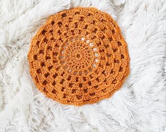Crochet Sunburst Beret in Gold