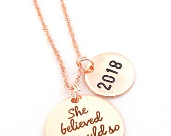 Rose Gold graduation necklace,2018 Graduation Necklace,She Believed She Could So She Did Necklace, Graduation Gift, Free Shipping USA