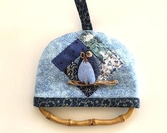 Owl Towel Hanger - Owl gift, kitchen owl, blue owl towel hanger