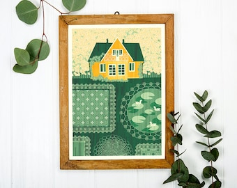 Countryside Green Garden Art Print A3 - Housewarming Gift, Christmas Gift, Home Decor Idea, Cabin Decor, Wall Art - Inspired by Lithuania