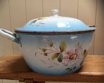 Very large Vintage French hand painted Enamel casserole dish complete with lid, french cuisine , home decor