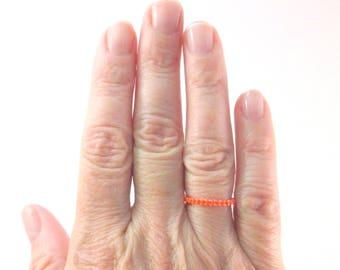 Skinny Orange Beaded Ring, Stacking Thin Line Skinny Peyote Seed Bead Ring, Thumb Toe or Pinky Ring, Layering Ring