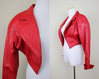 Cropped Red Leather Jacket + S / M + Vintage 80s Buttery Soft Red Leather Jacket + Open Front Leather Jacket + Structured + Michael Jackson
