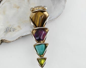 Gem Stone Brooch - Triangular Brooch - Statement Brooch - Big Boho Brooch - Geometric Brooch - Mother's Day Gift - Gift for Women