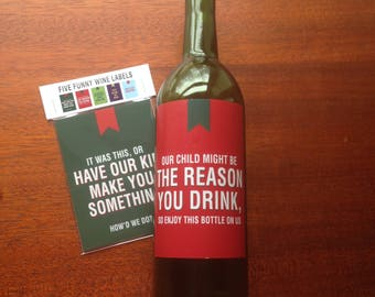 Funny Wine Labels, Five per Pack, Wine Label for Teacher, Gift for Babysitter, Gift for Daycare, Gift for Grandma, Labels for Wine Lovers