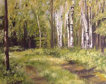 Landscape Oil Painting Vermont Woodland Birch Trees Scenic Nature Art Original Artwork