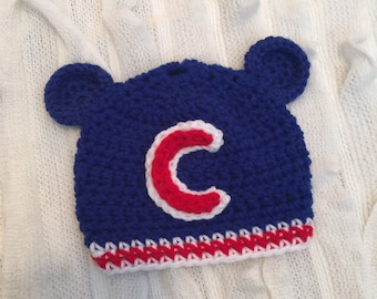 Chicago Cubs Hat, Cubs Hat, Crocheted Hat, Winter Hat, Photo Prop, Winter Accessories, Kids Accessories, Chicago Cubs Gear, Cubs Fan