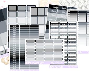 Black Dahlia Vertical Sticker Kit Plains Collection|Erin Condren|Lifeplanner|Happy Planner