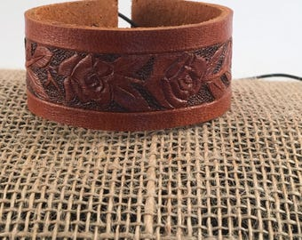 Genuine Leather Floral Bracelet