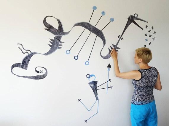 Creative Wall Decal Artsy Wall Decor Adhesive Puzzle Party
