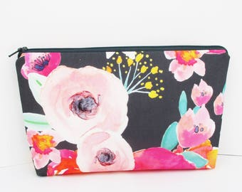 Cosmetic Bag, Make Up Zipper Pouch, Blushing Floral on Gray, Indy Bloom, Pale Pink Watercolor Floral, The Pretties, Bridesmaid Gift