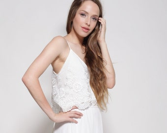Two part wedding dress, lace top wedding dress, wedding lace dress, lace top wedding dress, boho style wedding dresses