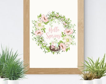 Hello Spring Easter Wreath Home Decor Wall Art DIGITAL PRINTABLE | Watercolor Bird Nest Easter Eggs | Watercolor Spring Flowers Wreath