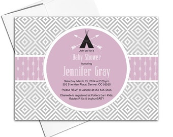 Aztec tribal baby shower invitations for girl | boho baby shower invites arrows | black and purple | printable or printed - WLP00702