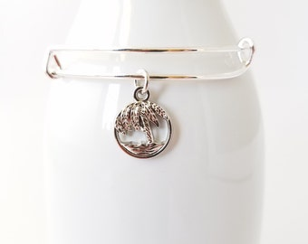 Palm tree and ocean silver plated bangle bracelet - dreaming of the sea