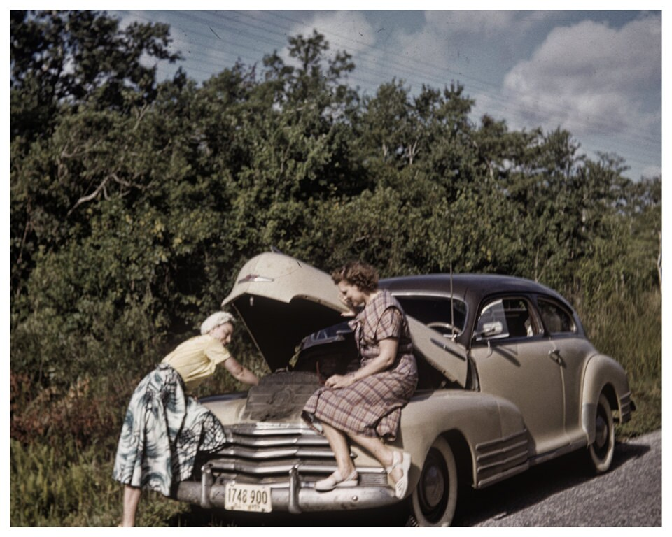 Female Roadside Mechanics in the 50s Original Vintage Photo