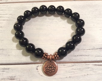 AA Grade Black Tourmaline Bracelet, Healing Bracelet, Wrist Mala Beads, For Protection, Stress Relief, Detoxification & Overall Well-Being