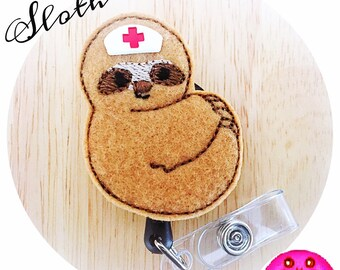 Feltie Badge Reel - Sloth -  Badge Holder - Retractable Badge Reel - ID Badge Clip - Nurse - RN Badge -  Badge - Mysweetbadge