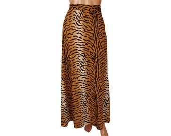 Vintage 1970s Maxi Skirt - Tiger Stripe Print  Made in Italy  - Size M