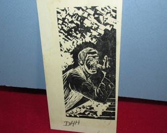 Vintage Small Wood Block Print by DHH