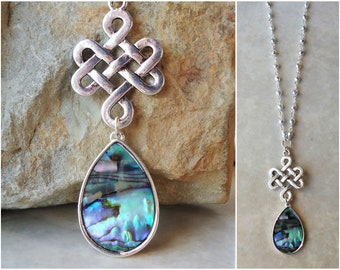 Abalone Shell Pendant.Long Necklace.Celtic Love Knot.Dainty.Silver.Chain.Paua Shell.Bridal.Layering.Boho.Multi Colors.Modern.Metal.Handmade.