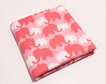 Pink Elephants Fabric - Mama and Baby Nursery Animal Print with Pink, White and Coral 100% Quilting Cotton by the Yard