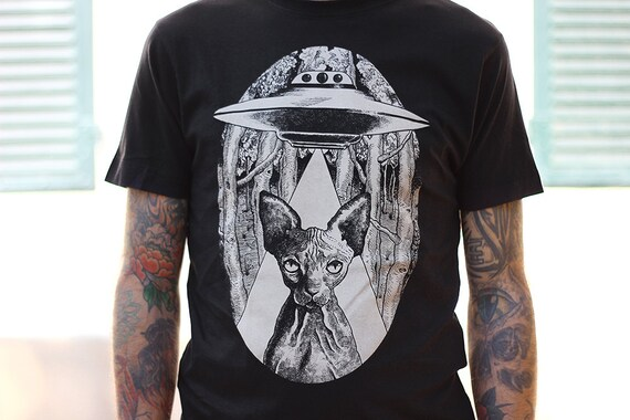 sphynx t-shirt, sphynx cat clothes , sphynx tshirt, alien cat man's shirt, steampunk clothing, boyfriend tshirt, vegan shirt, cat lover gift