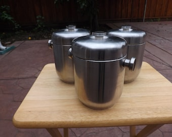 SALE- Retro Stainless Steel Canisters Made in Hong Kong- Vintage Retro Stainless Steel Ice Buckets Made in Hong Kong