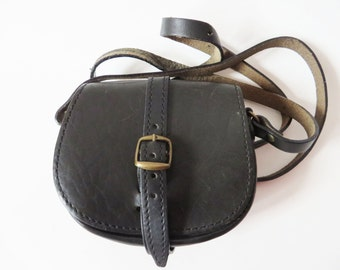 Small Black Leather Cross Body Purse Genuine Leather Saddle Bag Shoulder Bag Hobo Hippie Boho Artisan