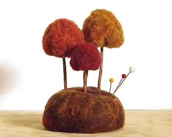 Pin Cushion Autumn Trees - Miniature Forest Sculpture MADE TO ORDER Pincushion - Home Decor Fall Nature Scene